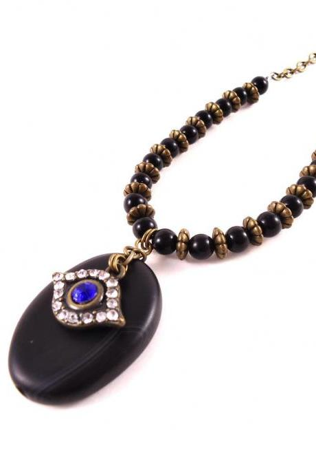 Evil Eye Jewelry - Black Agate Necklace - Yoga Gift for Her - Protection Jewelry