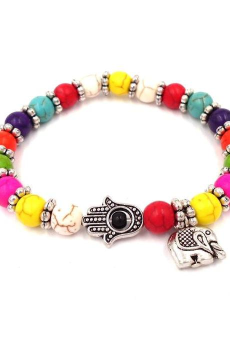 Hamsa Bracelet - Beaded Bracelet - Boho Bracelet - Protection Bracelet - Multi Colored - Colorful Bracelet Good Luck Gift Elephant Bracelet