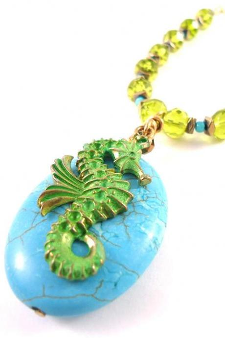 Seahorse Necklace - Summer Jewelry Trend - Mermaid Necklace - Beach Jewelry Women - Beach Jewelry Ideas - Blue Beach Jewelry - Blue Ocean