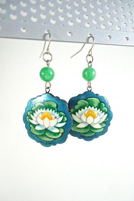 Wood Painted Jewelry - Floral Earrings - Wood Painted Earrings - Flower Boho Earrings - Lotus Jewelry - Blue Yoga Jewelry - Wooden Earrings
