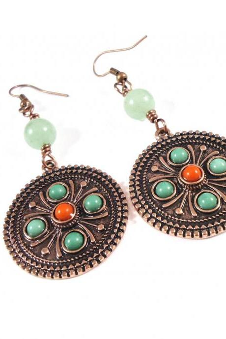 Orange Boho Earrings - Green Everyday Earrings - Green Women Earrings - Boho Green Earrings - Orange Everyday Earrings - Rustic Earrings